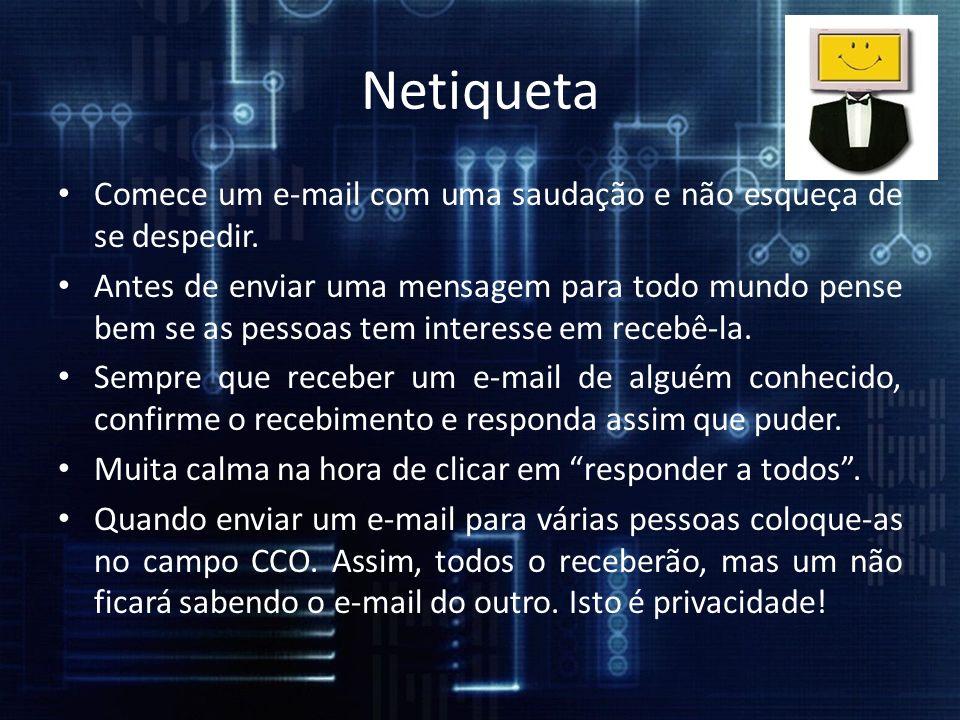 Erros de português ou de digitação não pegam bem.Evite enviar anexos muito pesados.