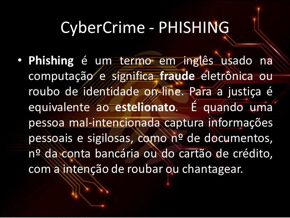 CyberCrime - PHISHING Phishing é um termo em inglês usado na computação e significa fraude eletrônica ou roubo de identidade on-line. Para a justiça é