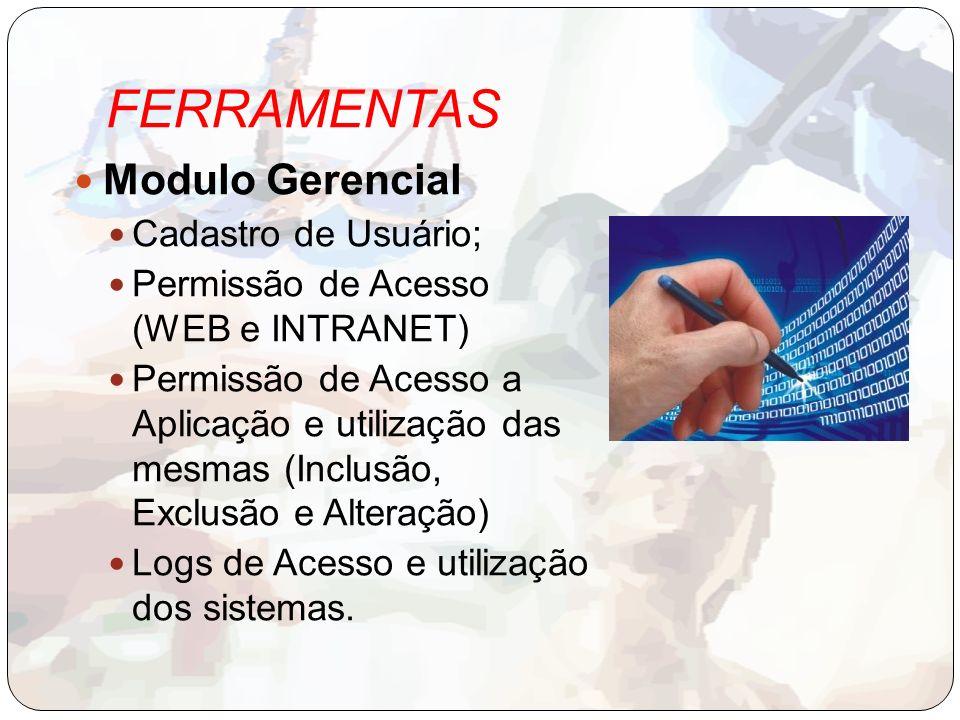 FERRAMENTAS Modulo Gerencial Cadastro de Usuário; Permissão de Acesso (WEB e INTRANET) Permissão de Acesso a Aplicação e utilização das mesmas (Inclusão, Exclusão e Alteração) Logs de Acesso e utilização dos sistemas.
