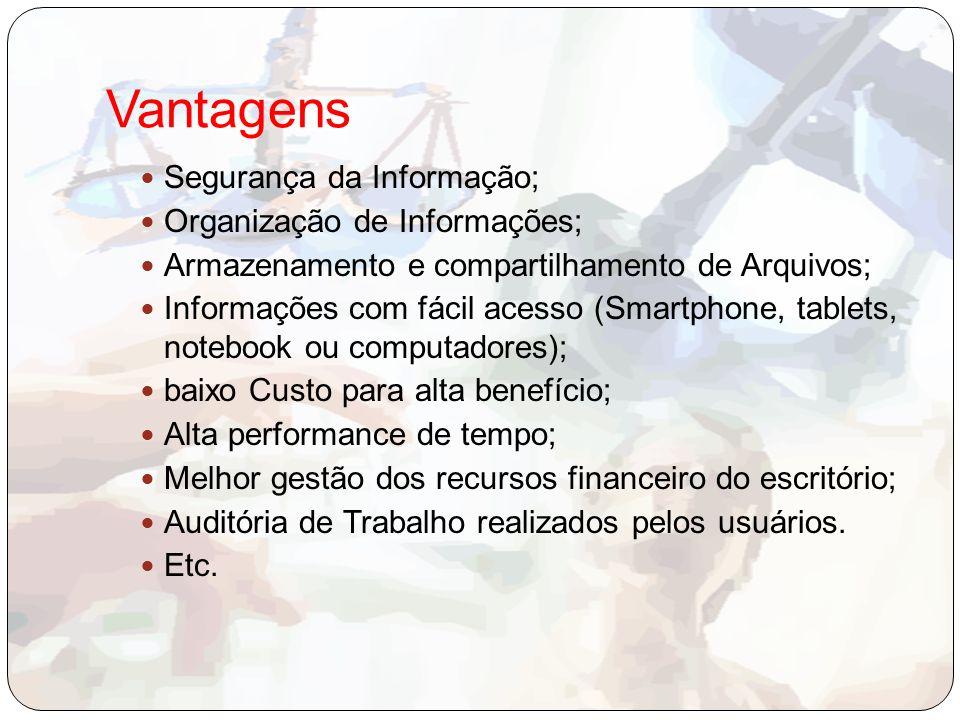 Vantagens Segurança da Informação; Organização de Informações; Armazenamento e compartilhamento de Arquivos; Informações com fácil acesso (Smartphone,
