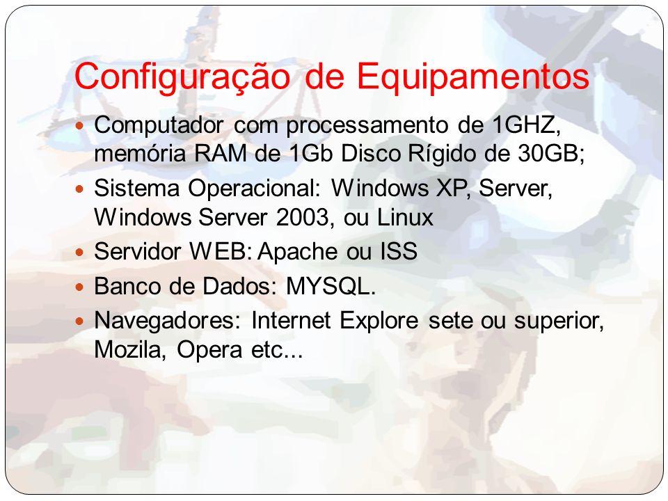 Configuração de Equipamentos Computador com processamento de 1GHZ, memória RAM de 1Gb Disco Rígido de 30GB; Sistema Operacional: Windows XP, Server, Windows Server 2003, ou Linux Servidor WEB: Apache ou ISS Banco de Dados: MYSQL.