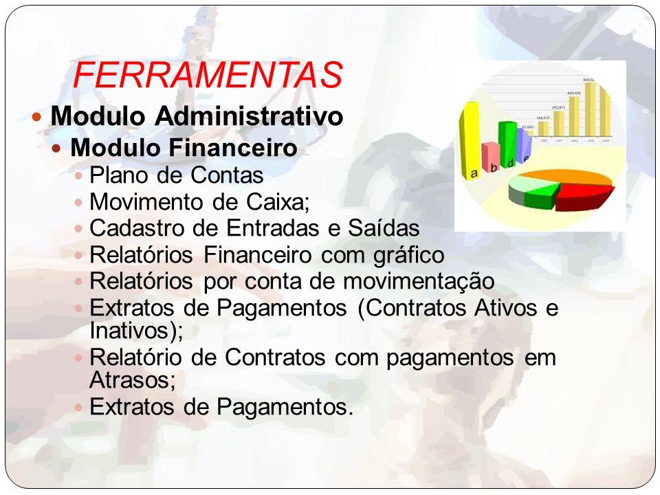 FERRAMENTAS Modulo Administrativo Modulo Financeiro Plano de Contas Movimento de Caixa; Cadastro de Entradas e Saídas Relatórios Financeiro com gráfic