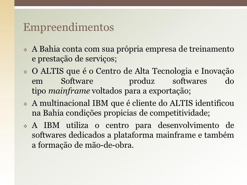 Empreendimentos A Bahia conta com sua própria empresa de treinamento e prestação de serviços; O ALTIS que é o Centro de Alta Tecnologia e Inovação em