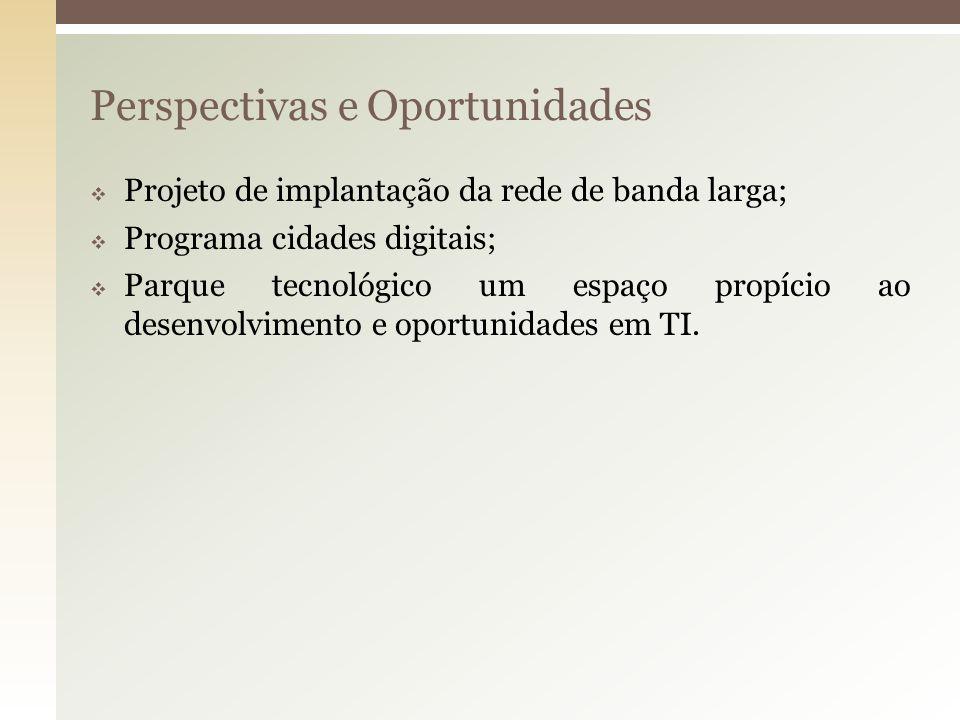 Perspectivas e Oportunidades Projeto de implantação da rede de banda larga; Programa cidades digitais; Parque tecnológico um espaço propício ao desenv