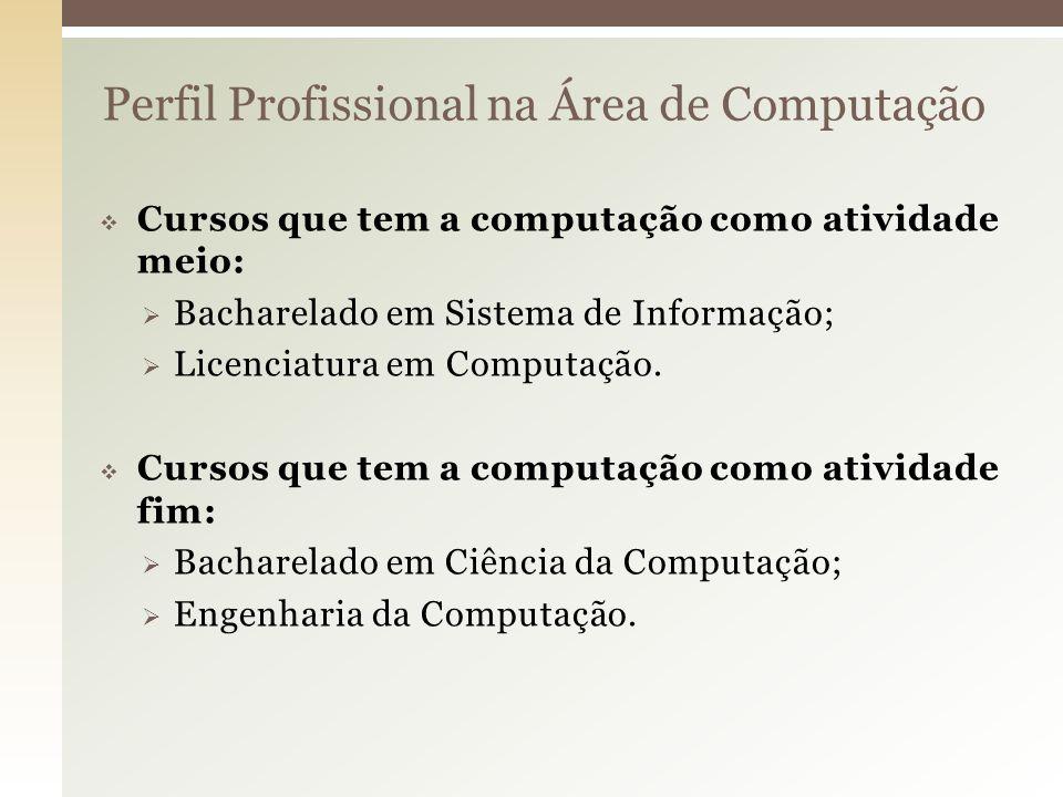 Perfil Profissional na Área de Computação Cursos que tem a computação como atividade meio: Bacharelado em Sistema de Informação; Licenciatura em Compu