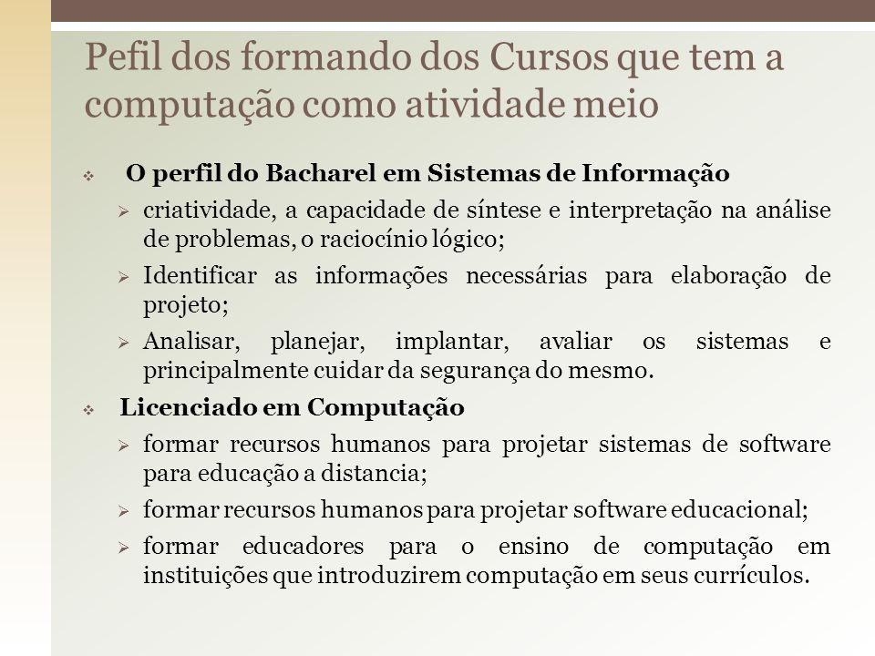 O perfil do Bacharel em Sistemas de Informação criatividade, a capacidade de síntese e interpretação na análise de problemas, o raciocínio lógico; Ide