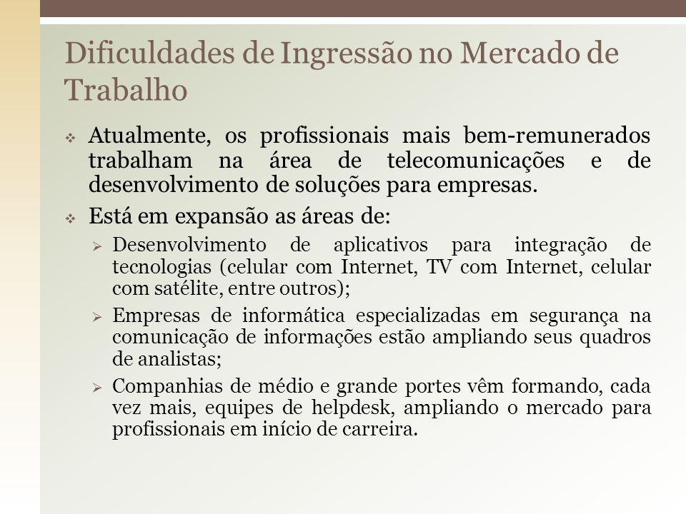 Dificuldades de Ingressão no Mercado de Trabalho Atualmente, os profissionais mais bem-remunerados trabalham na área de telecomunicações e de desenvol