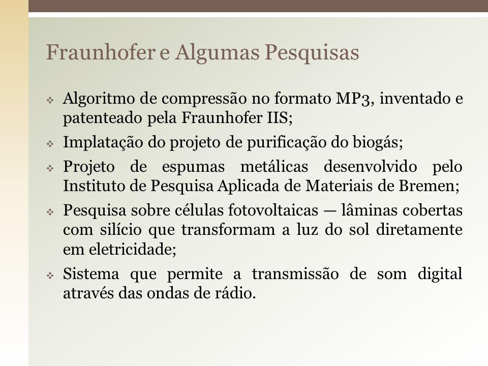Fraunhofer e Algumas Pesquisas Algoritmo de compressão no formato MP3, inventado e patenteado pela Fraunhofer IIS; Implatação do projeto de purificaçã