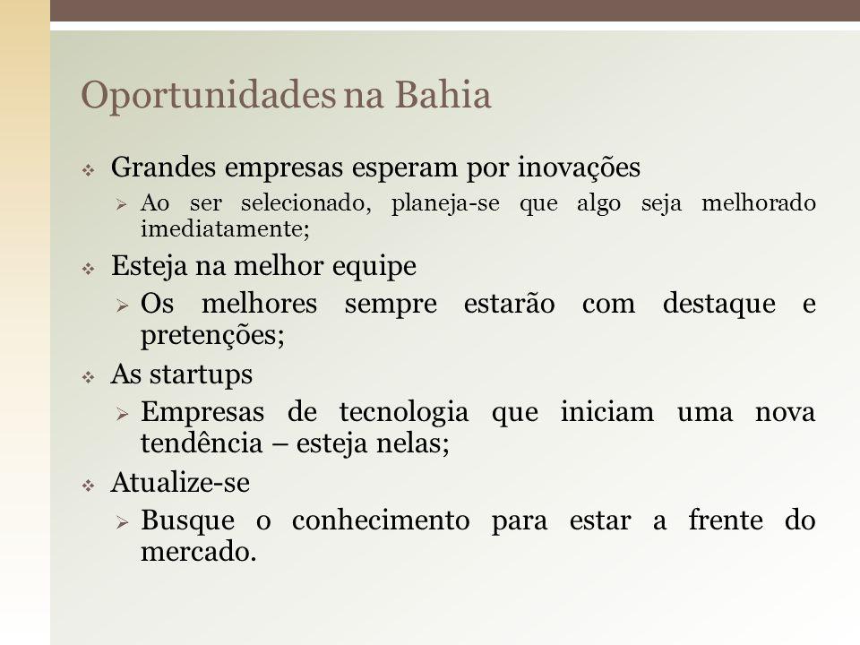 Oportunidades na Bahia Grandes empresas esperam por inovações Ao ser selecionado, planeja-se que algo seja melhorado imediatamente; Esteja na melhor e