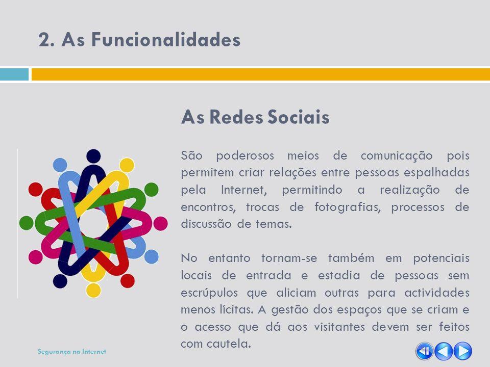2. As Funcionalidades As Redes Sociais São poderosos meios de comunicação pois permitem criar relações entre pessoas espalhadas pela Internet, permiti