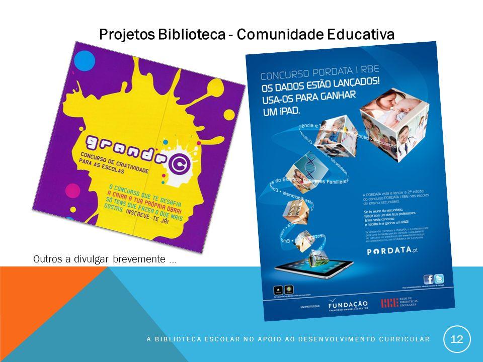 A BIBLIOTECA ESCOLAR NO APOIO AO DESENVOLVIMENTO CURRICULAR 12 Outros a divulgar brevemente … Projetos Biblioteca - Comunidade Educativa