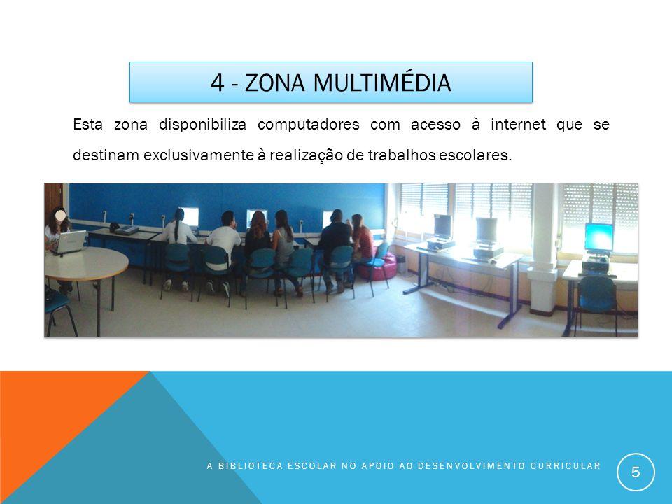 4 - ZONA MULTIMÉDIA A BIBLIOTECA ESCOLAR NO APOIO AO DESENVOLVIMENTO CURRICULAR 5 Esta zona disponibiliza computadores com acesso à internet que se de