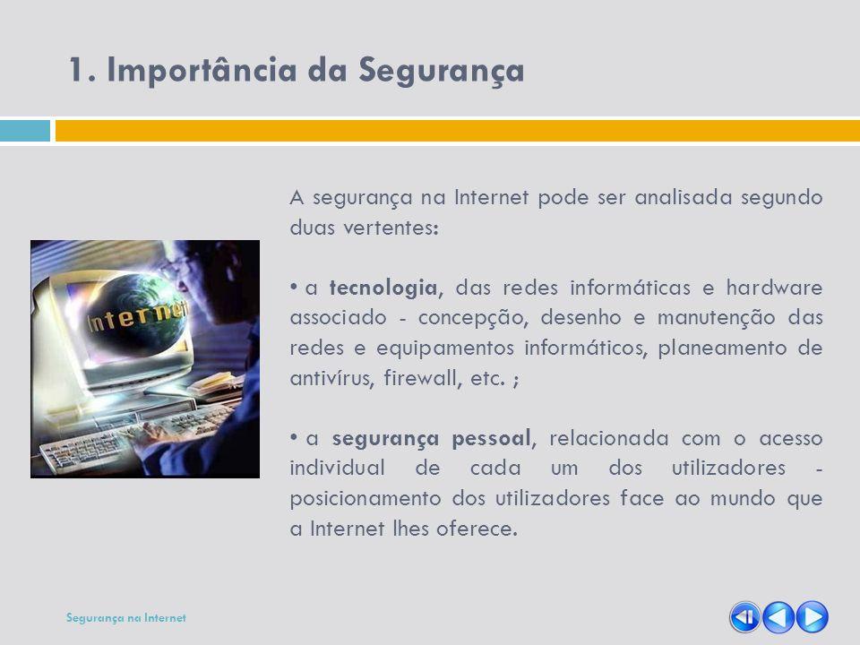 A segurança na Internet pode ser analisada segundo duas vertentes: a tecnologia, das redes informáticas e hardware associado - concepção, desenho e ma