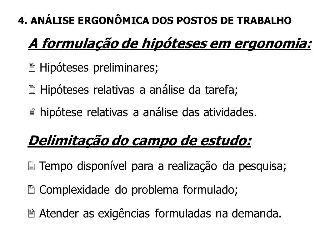As hipóteses de pesquisa em ergonomia 2 Podem ser formuladas a partir da análise da demanda; 2 Ao nível global da situação de trabalho; 2 Ao nível das