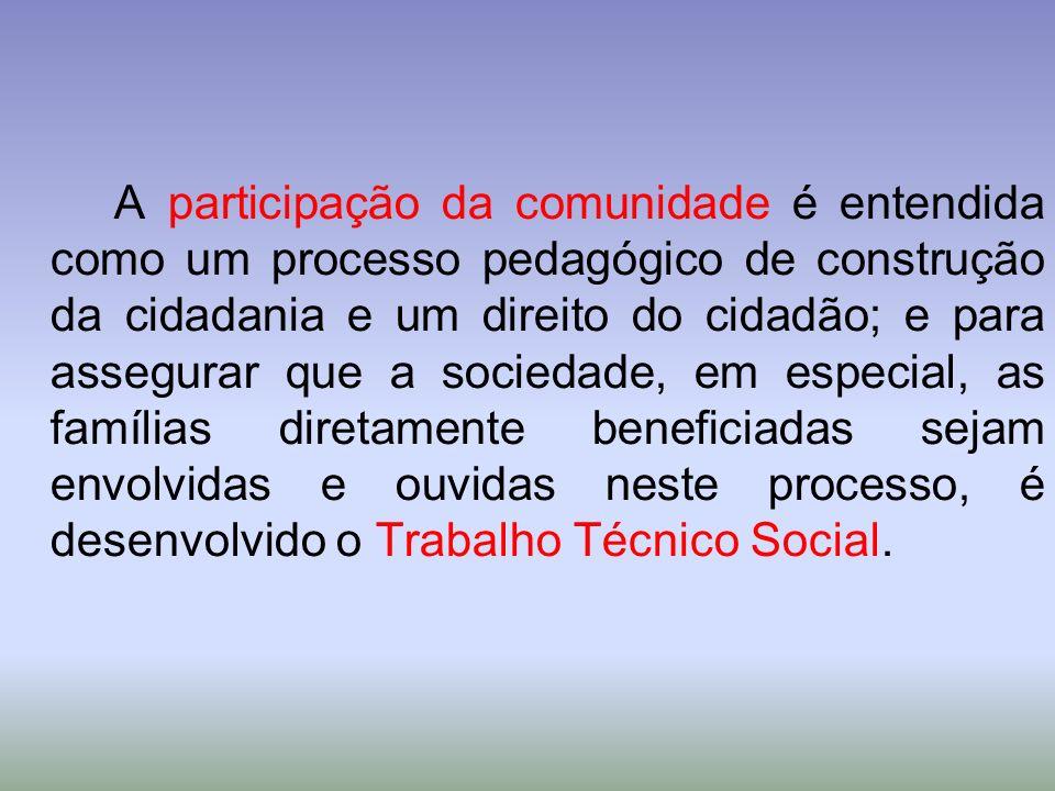 A participação da comunidade é entendida como um processo pedagógico de construção da cidadania e um direito do cidadão; e para assegurar que a socied