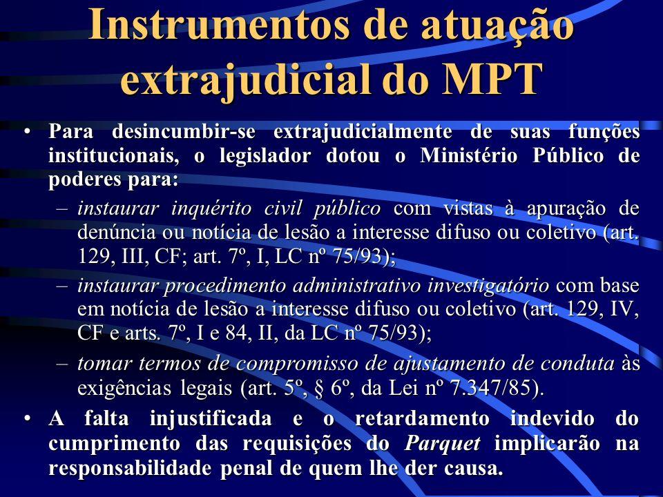 Instrumentos de atuação extrajudicial do MPT Para desincumbir-se extrajudicialmente de suas funções institucionais, o legislador dotou o Ministério Pú