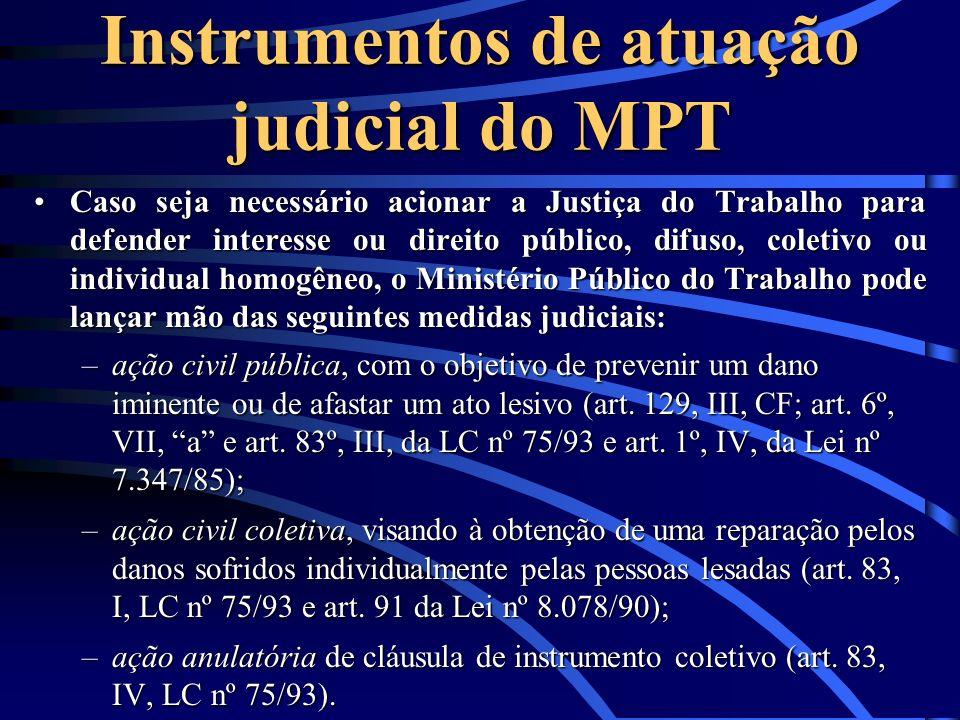 Instrumentos de atuação judicial do MPT Caso seja necessário acionar a Justiça do Trabalho para defender interesse ou direito público, difuso, coletiv