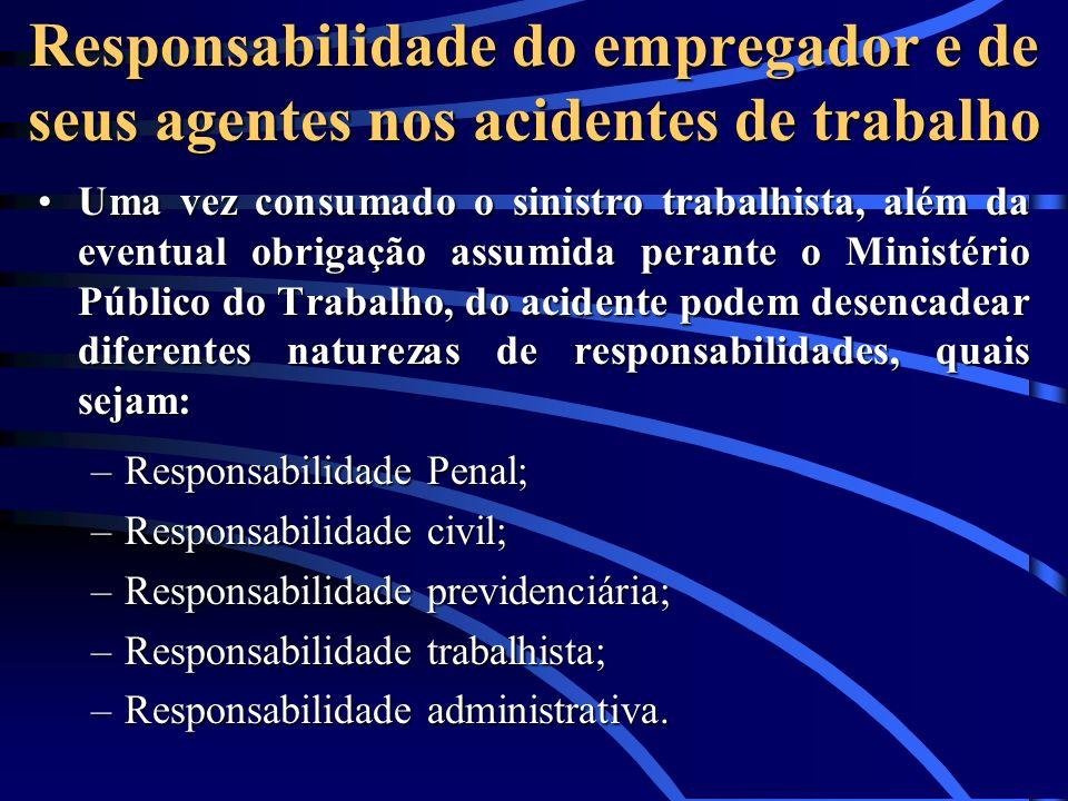 Responsabilidade do empregador e de seus agentes nos acidentes de trabalho Uma vez consumado o sinistro trabalhista, além da eventual obrigação assumi