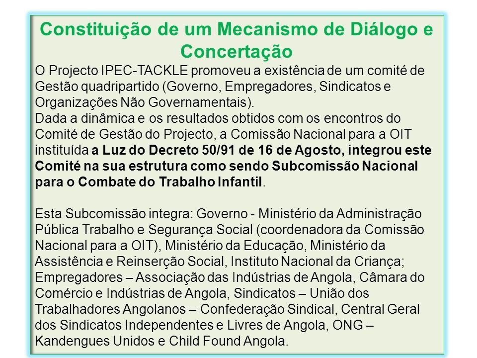 Constituição de um Mecanismo de Diálogo e Concertação O Projecto IPEC-TACKLE promoveu a existência de um comité de Gestão quadripartido (Governo, Empr
