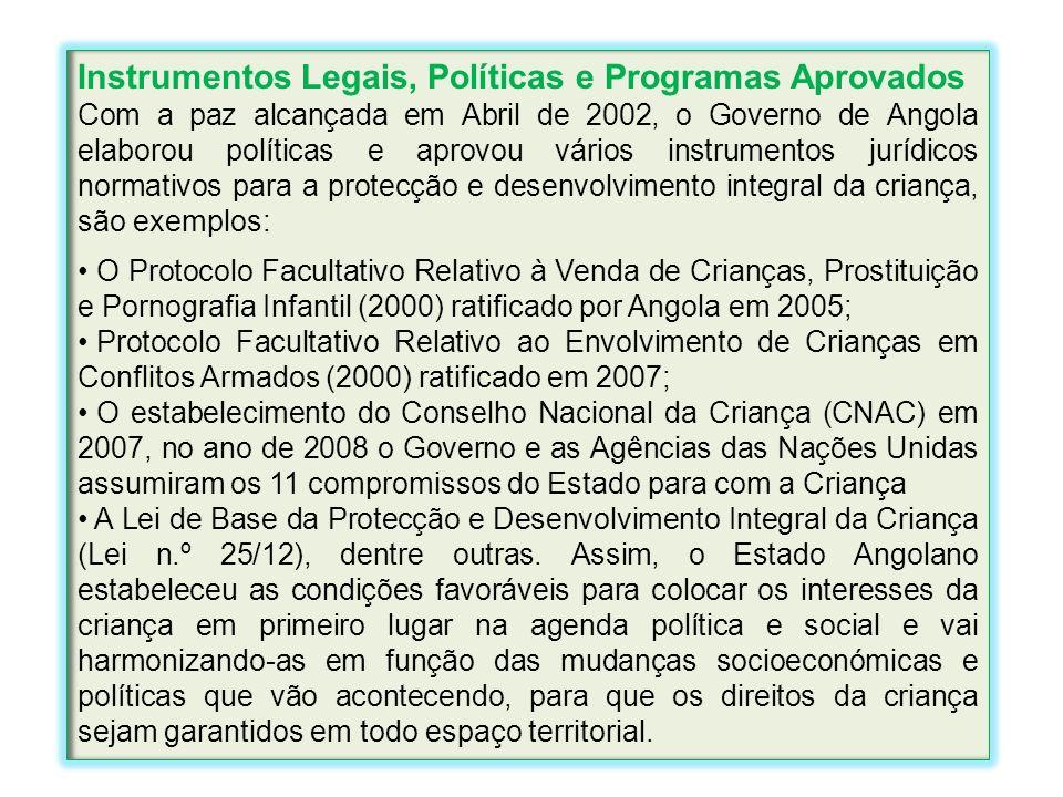 Instrumentos Legais, Políticas e Programas Aprovados Com a paz alcançada em Abril de 2002, o Governo de Angola elaborou políticas e aprovou vários ins