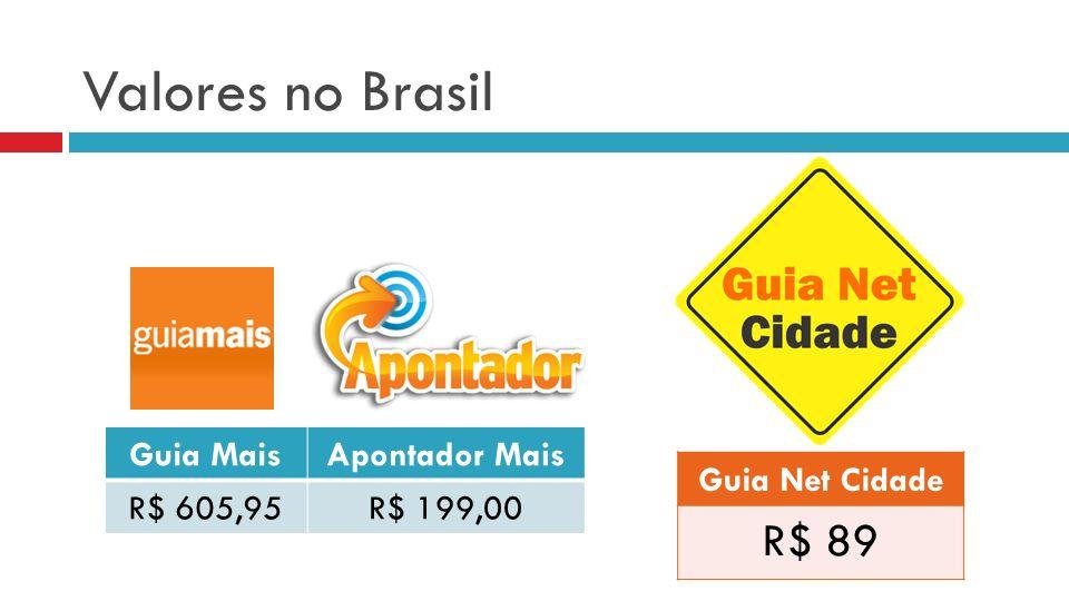 Valores no Brasil Guia MaisApontador Mais R$ 605,95R$ 199,00 Guia Net Cidade R$ 89