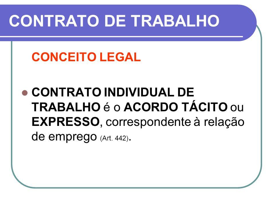 CONTRATO DE TRABALHO CONCEITO LEGAL CONTRATO INDIVIDUAL DE TRABALHO é o ACORDO TÁCITO ou EXPRESSO, correspondente à relação de emprego (Art. 442).
