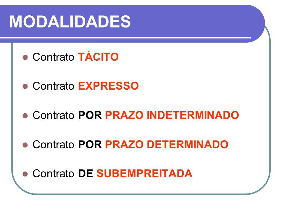 MODALIDADES Contrato TÁCITO Contrato EXPRESSO Contrato POR PRAZO INDETERMINADO Contrato POR PRAZO DETERMINADO Contrato DE SUBEMPREITADA