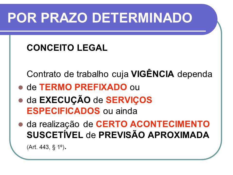 POR PRAZO DETERMINADO CONCEITO LEGAL Contrato de trabalho cuja VIGÊNCIA dependa de TERMO PREFIXADO ou da EXECUÇÃO de SERVIÇOS ESPECIFICADOS ou ainda d