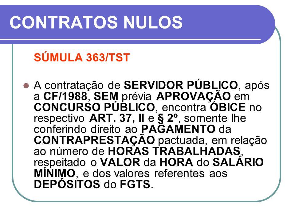 CONTRATOS NULOS SÚMULA 363/TST A contratação de SERVIDOR PÚBLICO, após a CF/1988, SEM prévia APROVAÇÃO em CONCURSO PÚBLICO, encontra ÓBICE no respecti
