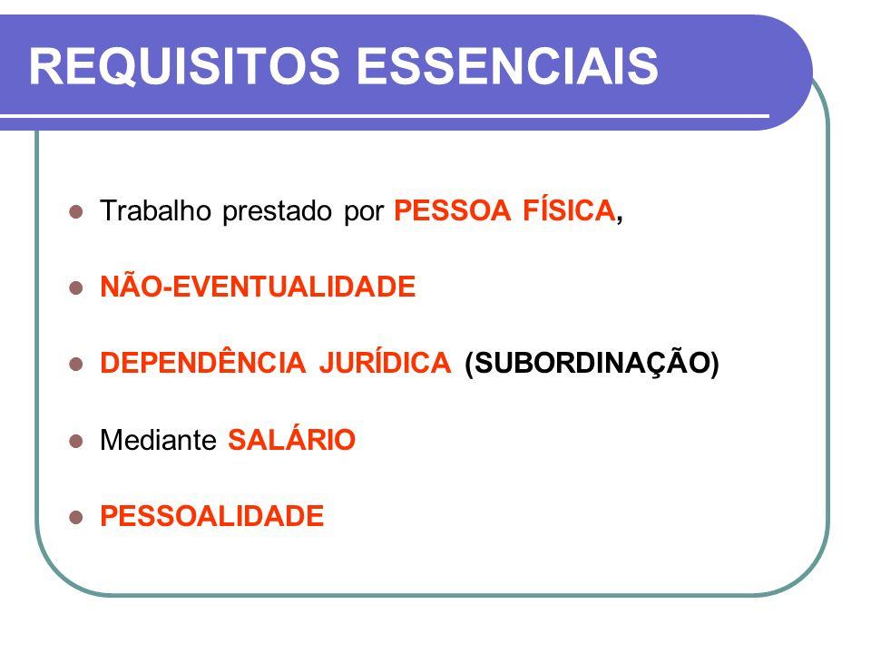 REQUISITOS ESSENCIAIS Trabalho prestado por PESSOA FÍSICA, NÃO-EVENTUALIDADE DEPENDÊNCIA JURÍDICA (SUBORDINAÇÃO) Mediante SALÁRIO PESSOALIDADE