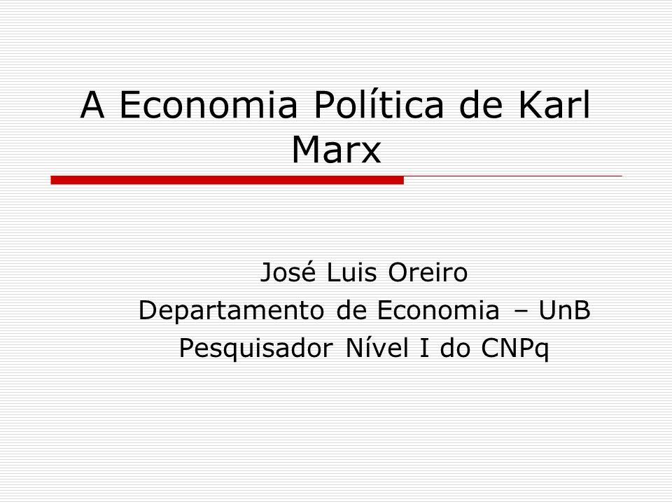 A Economia Política de Karl Marx José Luis Oreiro Departamento de Economia – UnB Pesquisador Nível I do CNPq