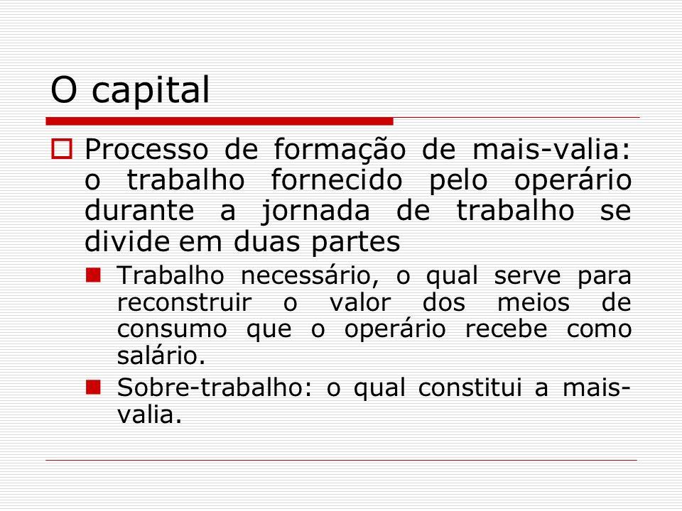O capital Processo de formação de mais-valia: o trabalho fornecido pelo operário durante a jornada de trabalho se divide em duas partes Trabalho neces