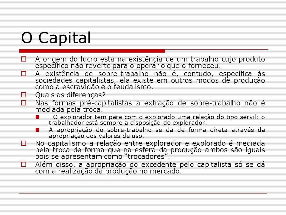 O Capital A origem do lucro está na existência de um trabalho cujo produto específico não reverte para o operário que o forneceu. A existência de sobr