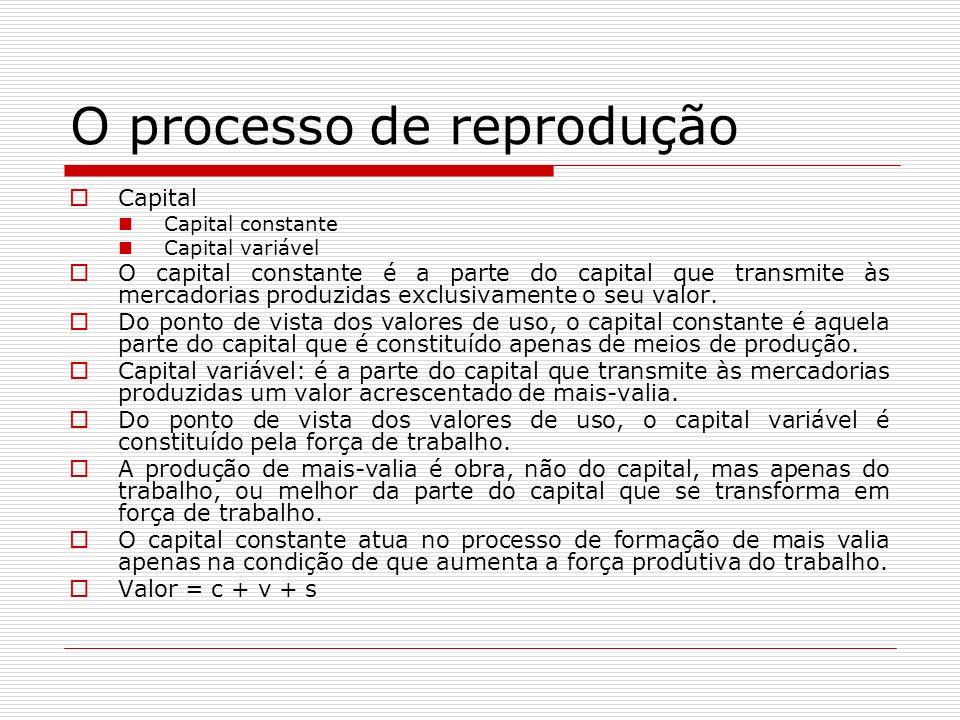 O processo de reprodução Capital Capital constante Capital variável O capital constante é a parte do capital que transmite às mercadorias produzidas exclusivamente o seu valor.