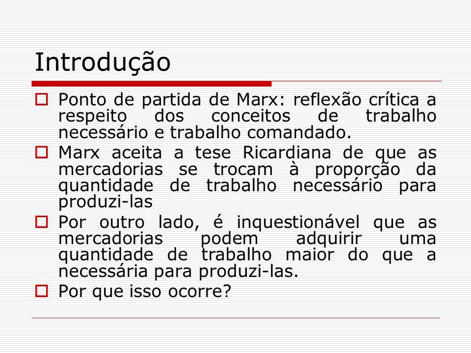 Introdução Ponto de partida de Marx: reflexão crítica a respeito dos conceitos de trabalho necessário e trabalho comandado. Marx aceita a tese Ricardi