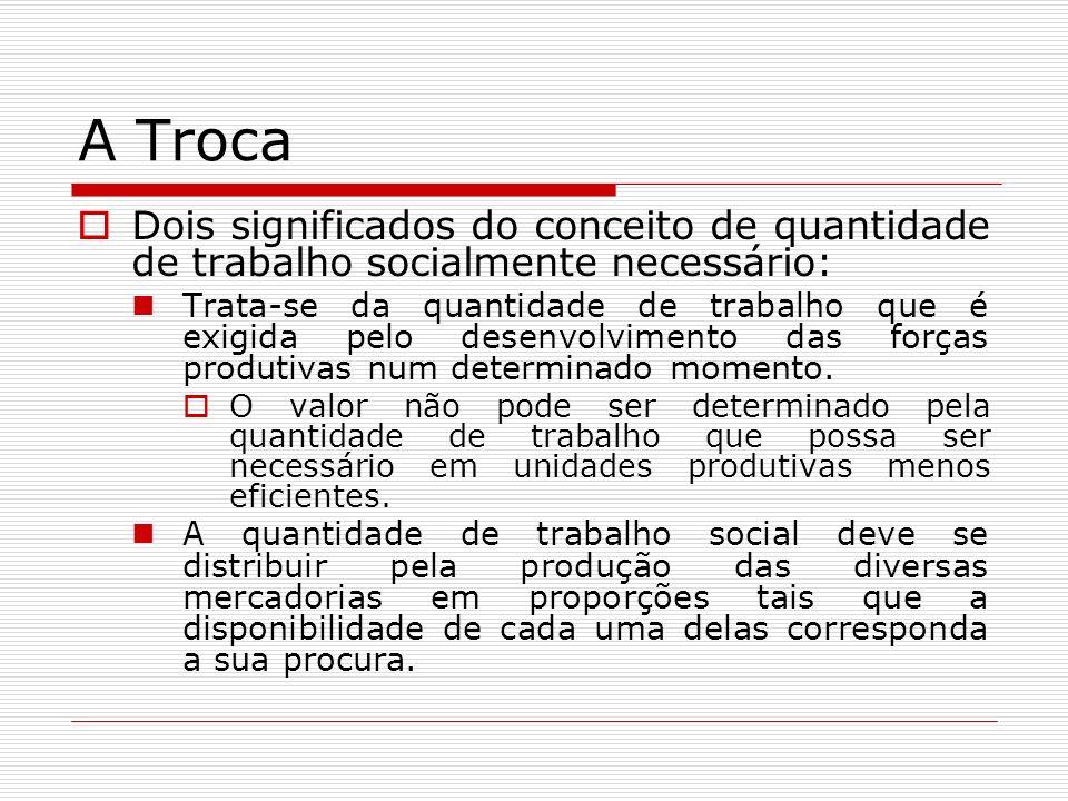 A Troca Dois significados do conceito de quantidade de trabalho socialmente necessário: Trata-se da quantidade de trabalho que é exigida pelo desenvolvimento das forças produtivas num determinado momento.