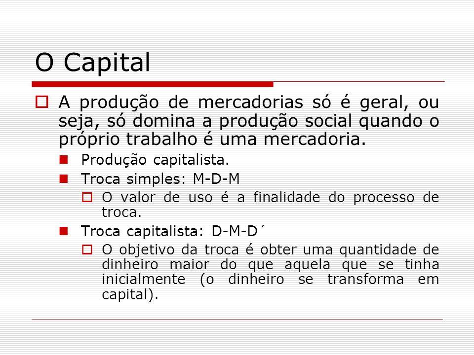 O Capital A produção de mercadorias só é geral, ou seja, só domina a produção social quando o próprio trabalho é uma mercadoria.
