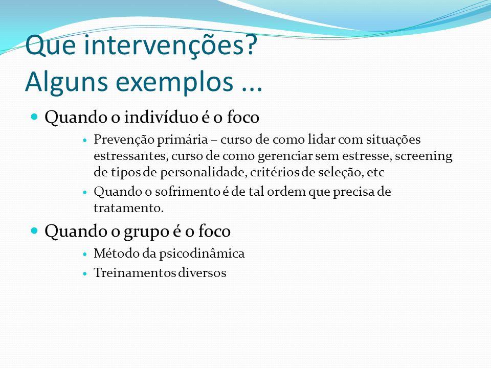 Que intervenções? Alguns exemplos... Quando o indivíduo é o foco Prevenção primária – curso de como lidar com situações estressantes, curso de como ge