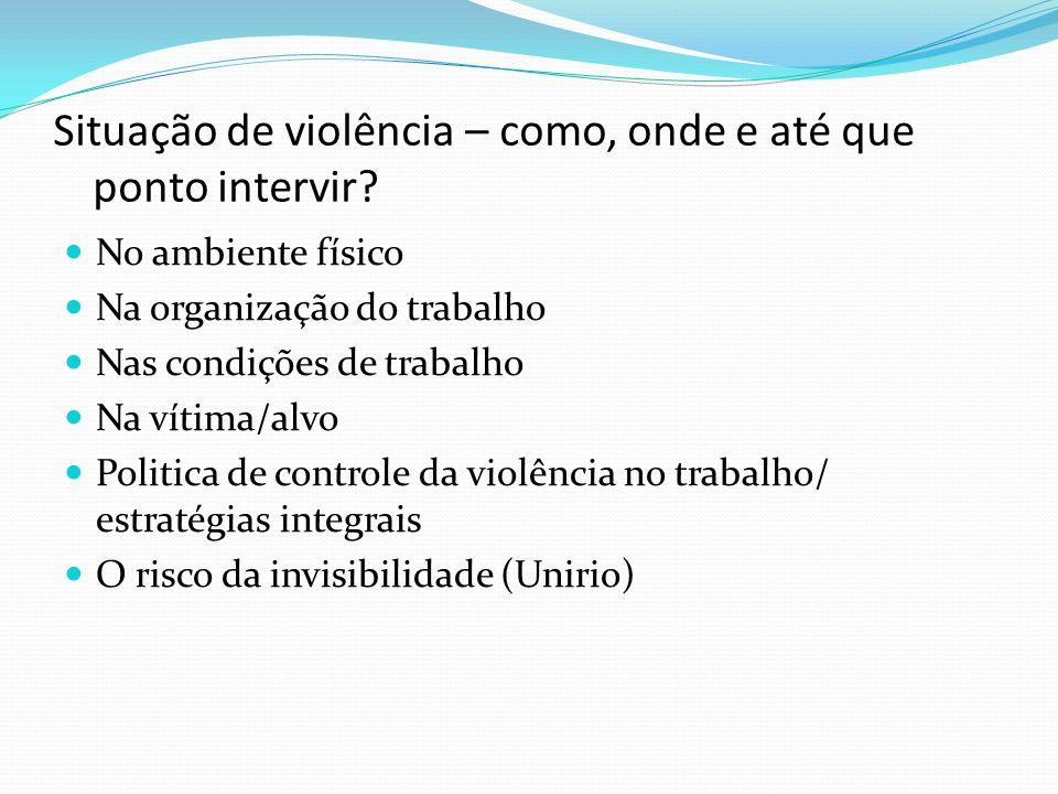Situação de violência – como, onde e até que ponto intervir? No ambiente físico Na organização do trabalho Nas condições de trabalho Na vítima/alvo Po