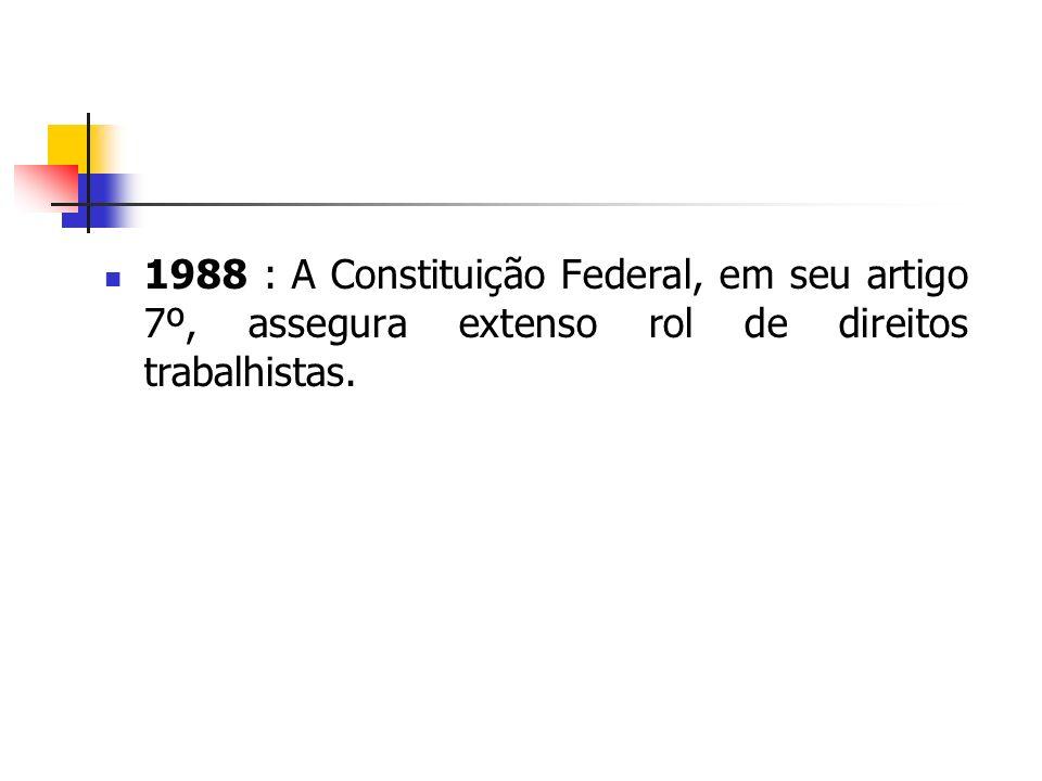 1988 : A Constituição Federal, em seu artigo 7º, assegura extenso rol de direitos trabalhistas.
