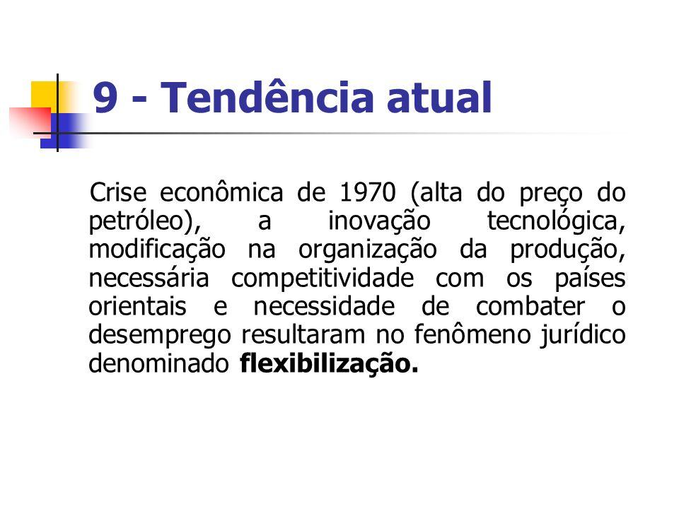 9 - Tendência atual Crise econômica de 1970 (alta do preço do petróleo), a inovação tecnológica, modificação na organização da produção, necessária co