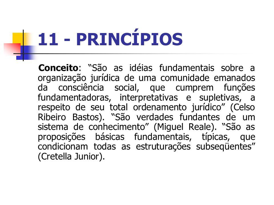 11 - PRINCÍPIOS Conceito: São as idéias fundamentais sobre a organização jurídica de uma comunidade emanados da consciência social, que cumprem funçõe