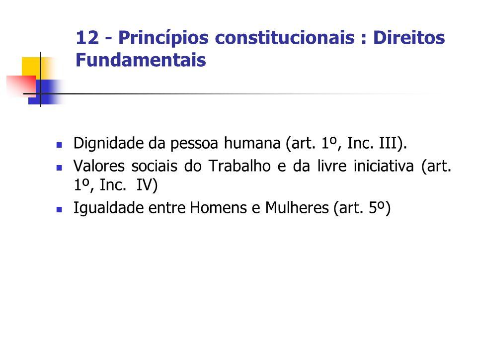 12 - Princípios constitucionais : Direitos Fundamentais Dignidade da pessoa humana (art. 1º, Inc. III). Valores sociais do Trabalho e da livre iniciat