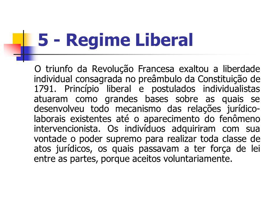 5 - Regime Liberal O triunfo da Revolução Francesa exaltou a liberdade individual consagrada no preâmbulo da Constituição de 1791. Princípio liberal e