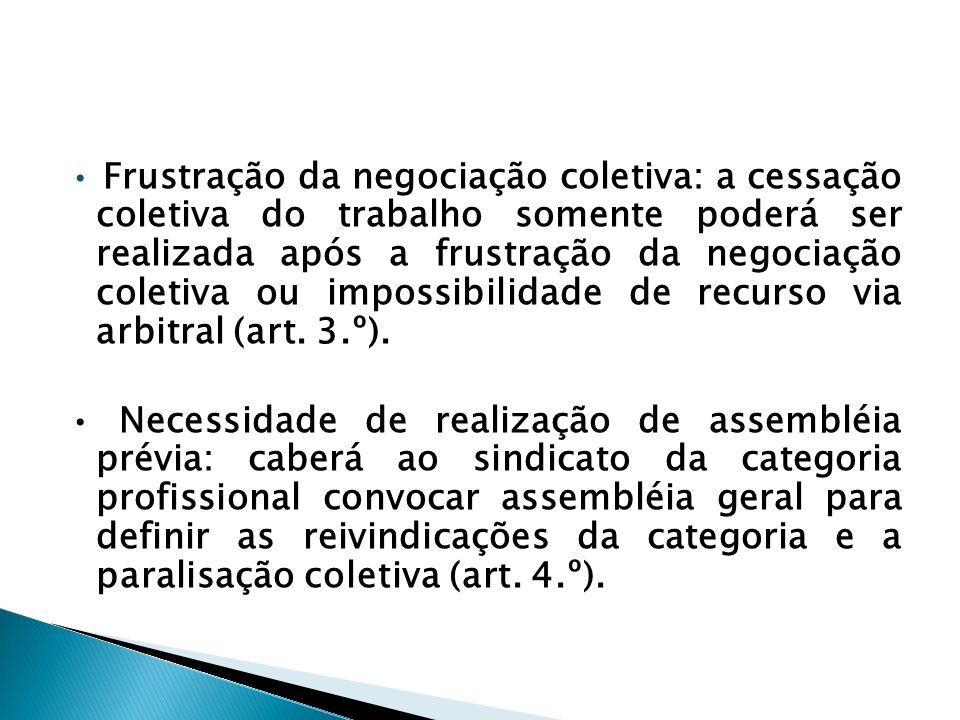 Frustração da negociação coletiva: a cessação coletiva do trabalho somente poderá ser realizada após a frustração da negociação coletiva ou impossibilidade de recurso via arbitral (art.