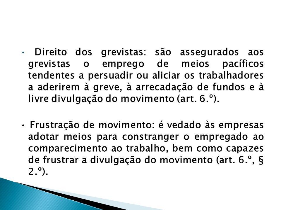 Direito dos grevistas: são assegurados aos grevistas o emprego de meios pacíficos tendentes a persuadir ou aliciar os trabalhadores a aderirem à greve, à arrecadação de fundos e à livre divulgação do movimento (art.