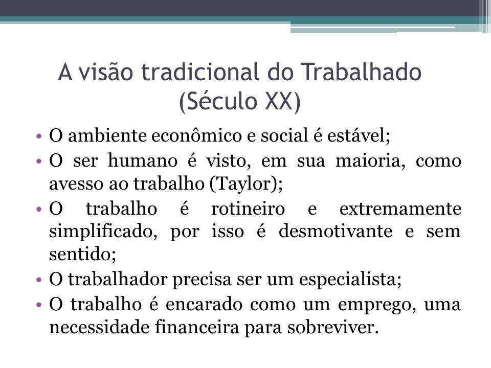 A visão tradicional do Trabalhado (Século XX) O ambiente econômico e social é estável; O ser humano é visto, em sua maioria, como avesso ao trabalho (