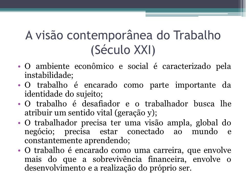 A visão contemporânea do Trabalho (Século XXI) O ambiente econômico e social é caracterizado pela instabilidade; O trabalho é encarado como parte impo