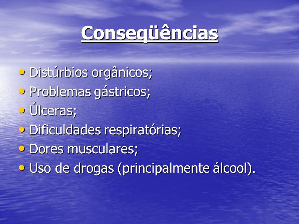 Conseqüências Distúrbios orgânicos; Distúrbios orgânicos; Problemas gástricos; Problemas gástricos; Úlceras; Úlceras; Dificuldades respiratórias; Difi