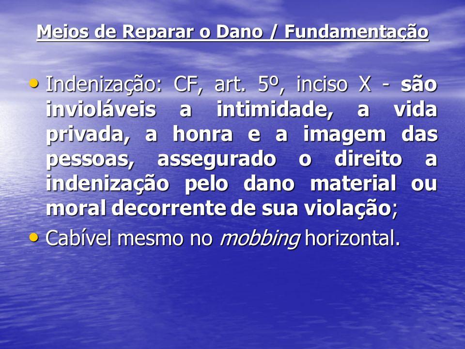 Meios de Reparar o Dano / Fundamentação Indenização: CF, art. 5º, inciso X - são invioláveis a intimidade, a vida privada, a honra e a imagem das pess